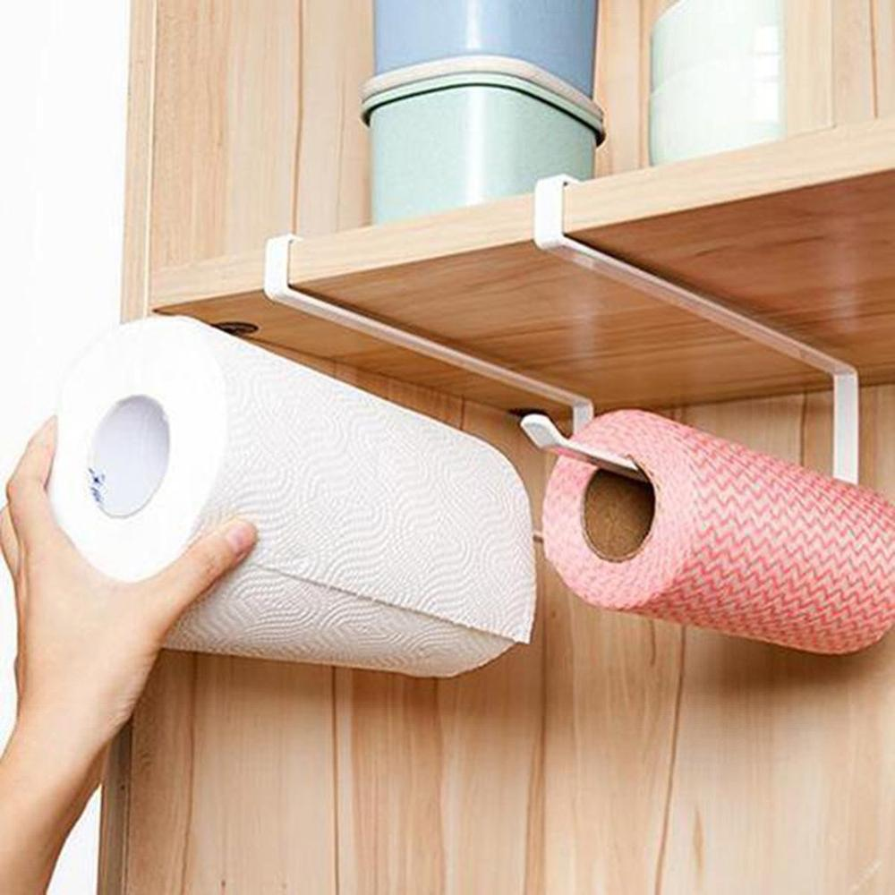 Adjustable Door Cabinet Hanging Paper Towel Rack Saving Space  Wrought Iron Cabinet Partition Layer Storage Rack Roll Holder