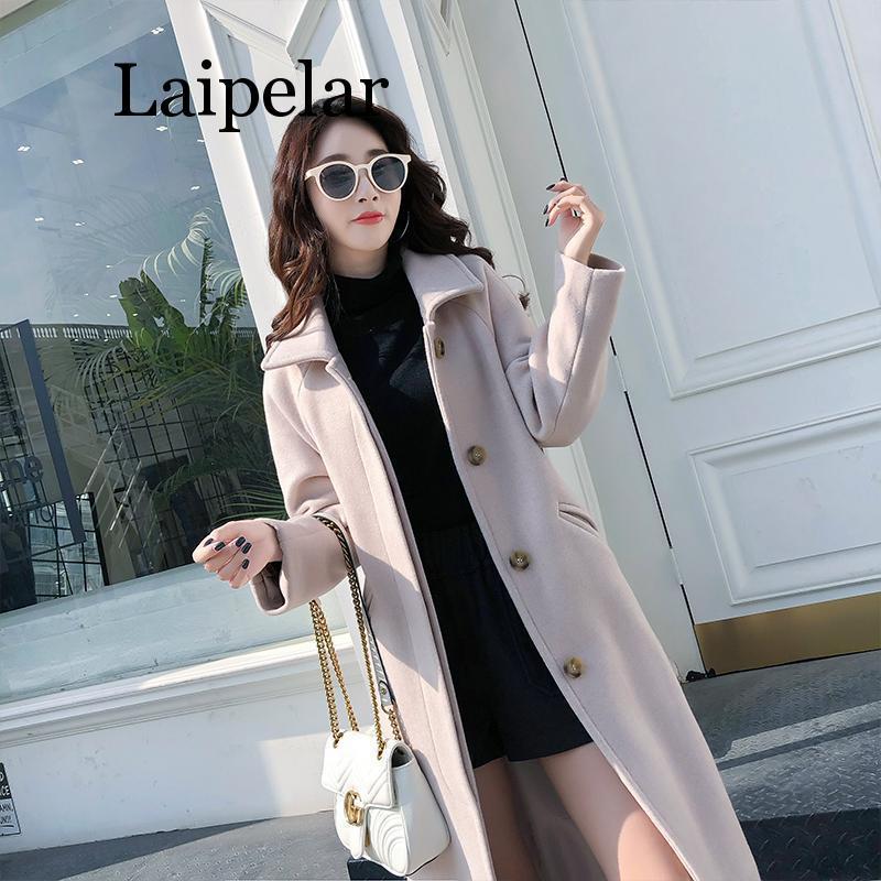 Medium long wool coat women fashion black turn down collar Single breasted spring autumn thin outerwear korean style coats