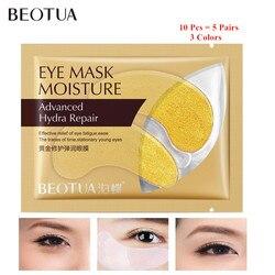 5 пар, Золотая маска для глаз, кристальная коллагеновая нашивки в виде глаз, против старения, морщин, прыщей, увлажняющие патчи для ухода за к...