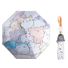 Cartoon Animal Cat Lovely Girls Automatic Umbrella Boy Dinosaur Umbrella Reflecting Light At Night Umbrellas For Kids