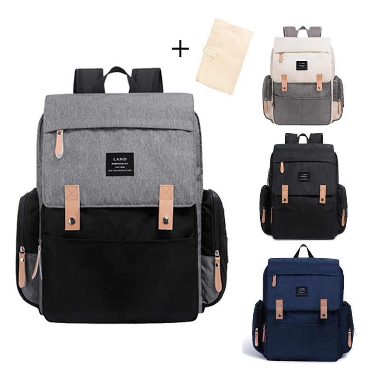 Land Large Capacity Diaper Bag Fashion Travel Backpack For Mom And Dad Solid Mummy Bags Stroller Organizer Bag For Baby Care