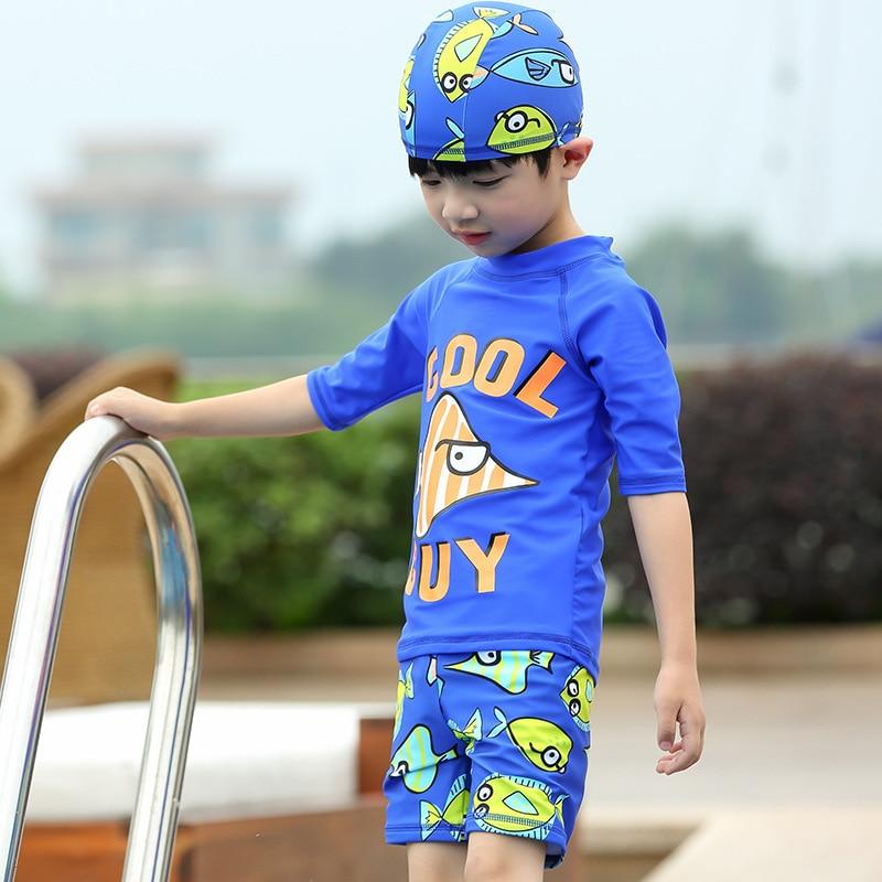New Style CHILDREN'S Swimwear Split BOY'S Swimsuit AussieBum Boy Swimwear Cute Cartoon Pattern With Swim Cap