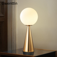 Modern Glass Ball Table Lamp for Bedroom Living Room Bedside Lamp Nordic Study Led Desk Light Fixtures Industrial Home Decor