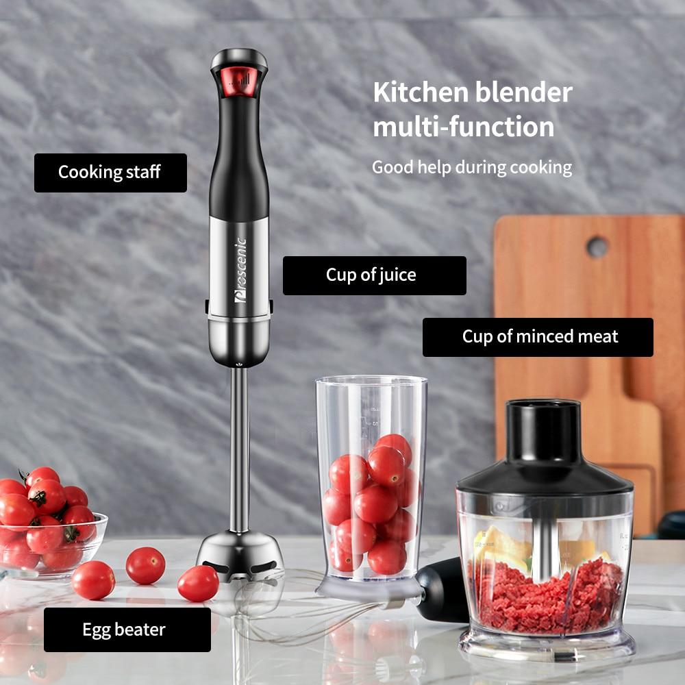 Proscenic main mélangeur bâton puissant Immersion Portable mélangeur 4 en 1 ensemble pour cuisine fouet bécher presse-agrumes mélangeur Smoothie bébé - 4