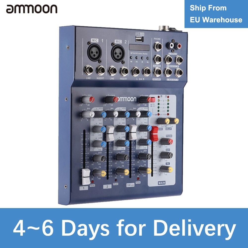 Ammoon F4-USB Console de mixage Audio ligne micro numérique 3 canaux avec alimentation fantôme 48V pour l'enregistrement de musique DJ