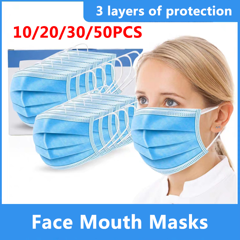 10/20/30/50pcs 3 Layer Disposable Protective Face Mouth Masks Influenza Bacterial Facial Dust-Proof Safety Masks