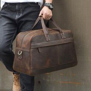 Image 1 - MAHEU deri küçük seyahat çantası adam için Vintage inek deri seyahat bagaj çantası deri crossbody omuzdan askili çanta seyahat çantası