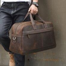 Кожаная дорожная сумка MAHEU для мужчин, винтажный чемодан на плечо из воловьей кожи, кросс боди