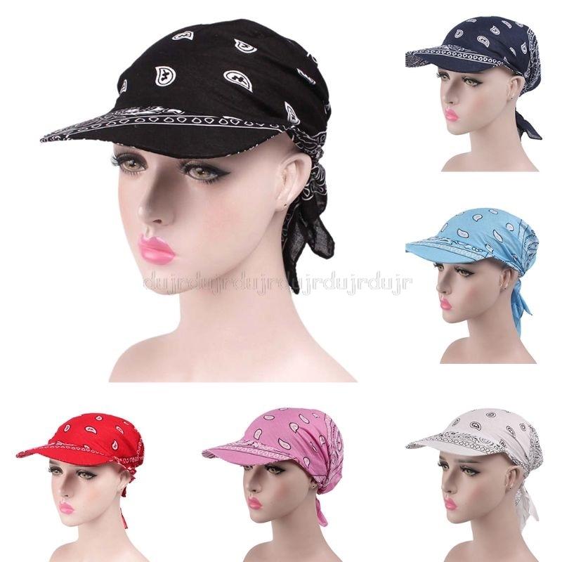 Women Unisex Visor Pre Fitted Bandana Turban Hat Boho Paisley Floral Printed Tie Knot Back Cotton Baseball Au28 19 Dropship