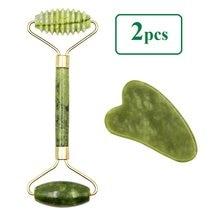 2 stücke Gesichts Massager Roller Natürliche Jade Stein Guasha Brett Schaber Set Facelift Haut Entspannung Abnehmen Schönheit Neck Dünne lift
