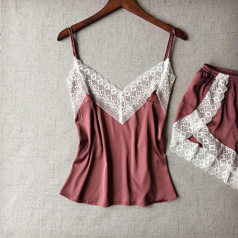 Пижамы женские пижамные комплекты Camisole женская ночная рубашка летние babydolls женские пижамы ночной костюм шелк как Сексуальное белье камзол