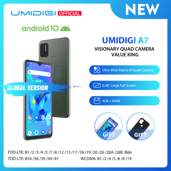 UMIDIGI A7 Android 10 OS 6,49 gran pantalla completa 4GB LPDDR3 64GB ROM Quad Cámara octa-core procesador versión Global Smartphone
