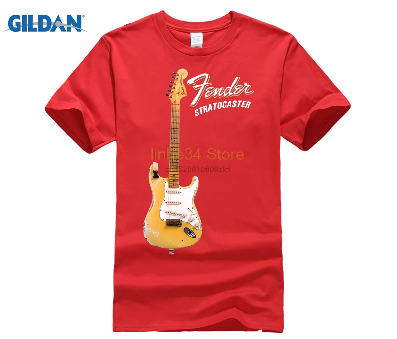100% Cotton Print Shirts customized T-shirt YNGWIE MALMSTEEN Stratocaster Electric Guitar T-Shirt Black
