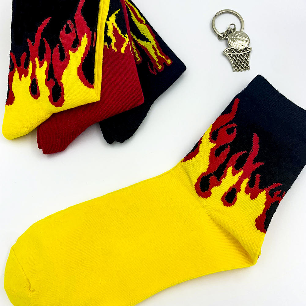 Men Fashion Hip Hop Hit Color On Fire Crew Socks Red Flame Blaze Power Torch Hot Warmth Street Skateboard Cotton  Socks Cool