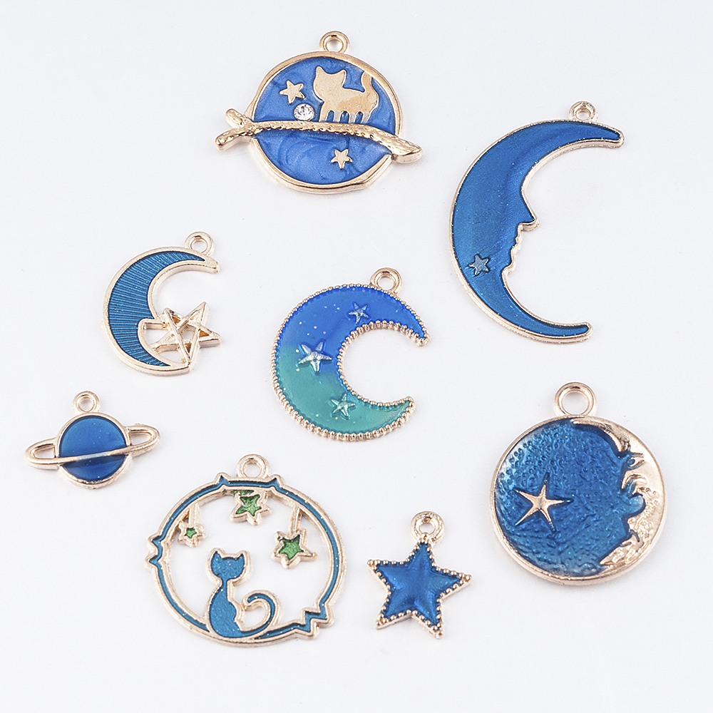 8PC Cute Moon/Star/Planet Enamel Charm Pendant for DIY Earrings/Bracelet Craft Charms for Jewelry Making