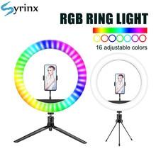 Neue 16 Farben 10 zoll 26cm RGB LED Selfie Ring Licht Fotografie Beleuchtung stativ Telefon Clip für TikTok youTube Live Halter