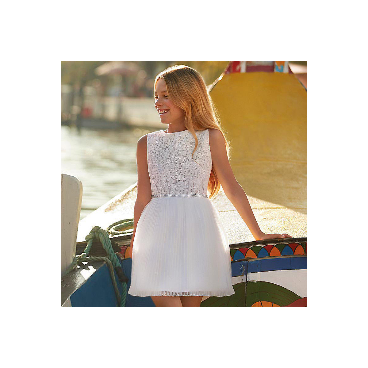 MAYORAL Dresses 10685168 Girl Children fitted pleated skirt White Polyester Casual Floral Knee-Length Sleeveless Sleeve white tube top and floral print pleated hem skirt co ord