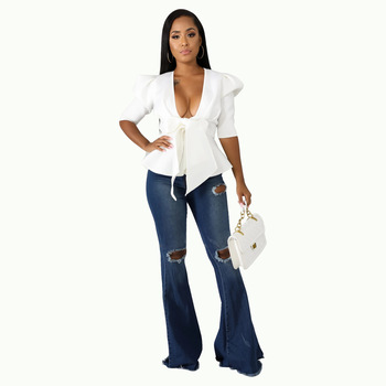 HAOOHU Half Sleeve Sexy Deep V Neck Bow Blouse Women Summer Casual Solid Color Ruffle Blouse Elegant Bandage Crop Blouse Top фото