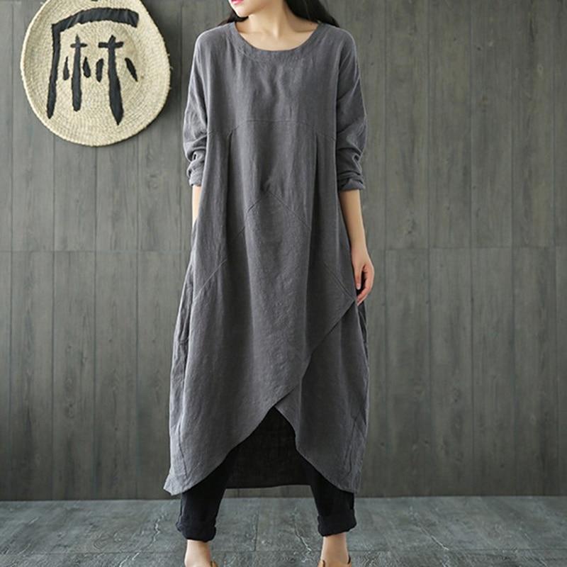 Весенне-осеннее платье, новое женское платье с вырезом лодочкой и длинным рукавом, асимметричное хлопковое льняное Свободное длинное