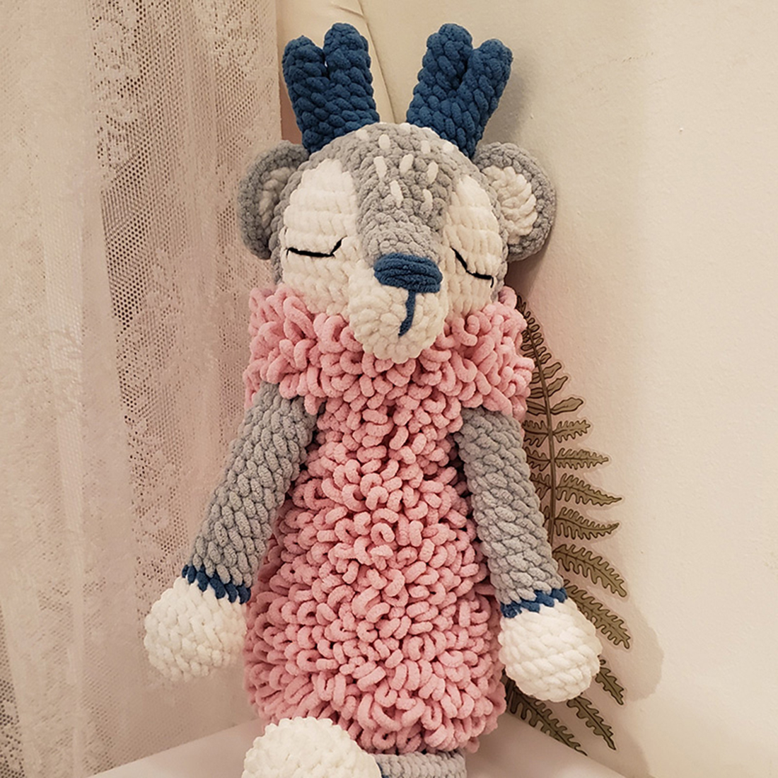 DIY Hand Knitted Cute Wool Doll Handmade Crochet Doll Non Finished Poked Kit - Silver Pink Deer
