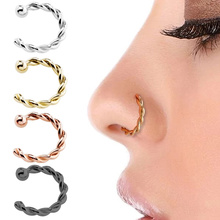 Huitan Punk Style Fake Nose Rings Lip Rings Body Jewelry Faux Piercing Clip Women Nose Rings Twist Design Gift for Cool Girl