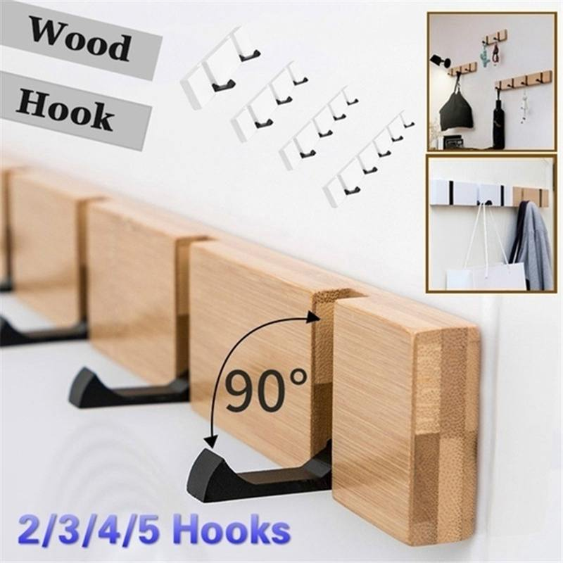 Wall Mount Coat Hook For Home Solid Wood Coat Hangers Rack Robe Hat Clothes Hook Wall Coat Rack 2/3/4/5/6 Hooks