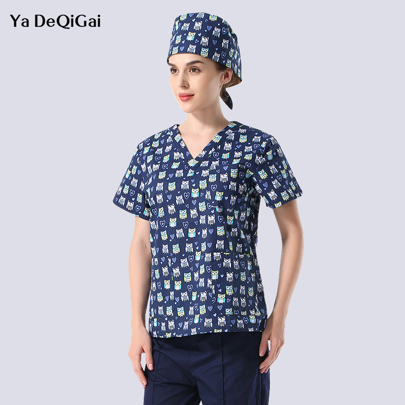 Unisex Medical Clothing Scrub Tops Cartoon Print Medical Surgical Pharmacy Nurse Uniform Beauty Salon Shirts Spa Uniform Womens