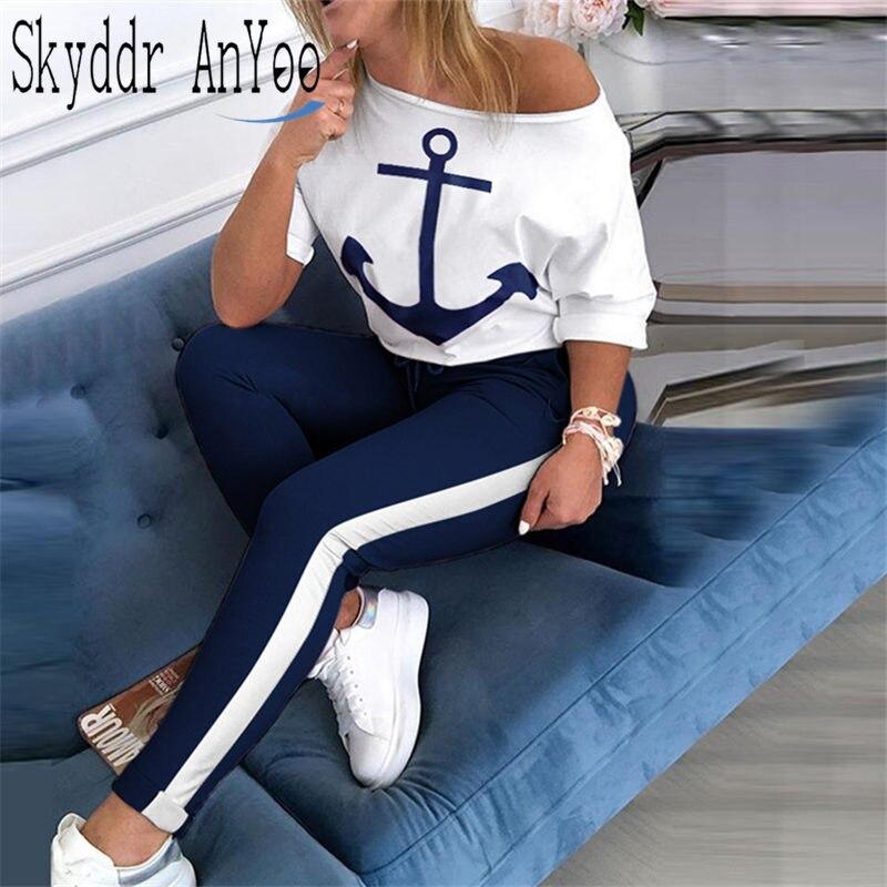 2 Piece Set Tracksuit Women Boat Anchor Print Two Piece Set Top And Pants Femme Clothes Elastic Waist Long Pants Set Lounge Wear(China)