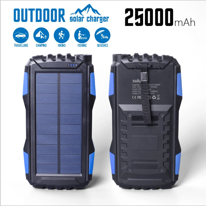 <font><b>Solar</b></font> <font><b>Power</b></font> <font><b>Bank</b></font> <font><b>Waterproof</b></font> <font><b>30000mAh</b></font> Charger 2 USB External Charger Powerbank for All Phone LED Poverbank image