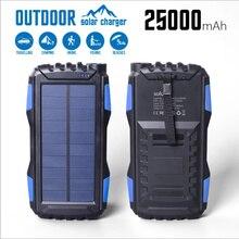 Solar Power Bank Waterproof 30000mAh Charger 2 USB External