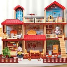 Princess Big Villa DIY Dollhouses Kit Pink Castle Play House With Slide Yard Kit Assembled Doll House Toys Pretend Kids Toys