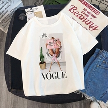 VOGUE letter print T-shirt summer Harajuku women's large size tops T shirt fashion Streetwear casual short-sleeved female Tshirt