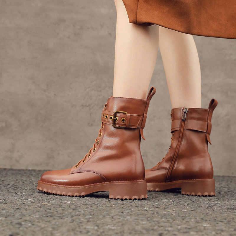 Frau Knöchel Stiefel Schwarz Braun Martin Stiefel Aus Echtem Leder Lace Up Plattform Schuhe Kuh Leder Motorrad Martin Stiefel
