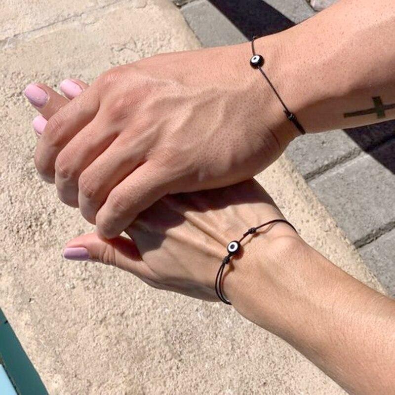 couples Lucky Eye Blue Evil Eye Charms Bracelet Red String Thread Rope Couple Bracelet Wish Card Jewelry For Women Men bracelet