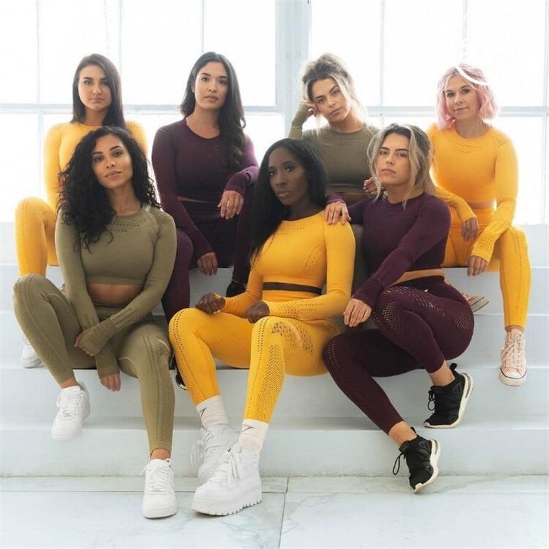 Image 5 - Women Seamless Gym Sets High Waist Gym Mesh Leggings Shirts Suit  Long Sleeve Fitness Workout Sports Running Thin Sport SetsWomens Sets