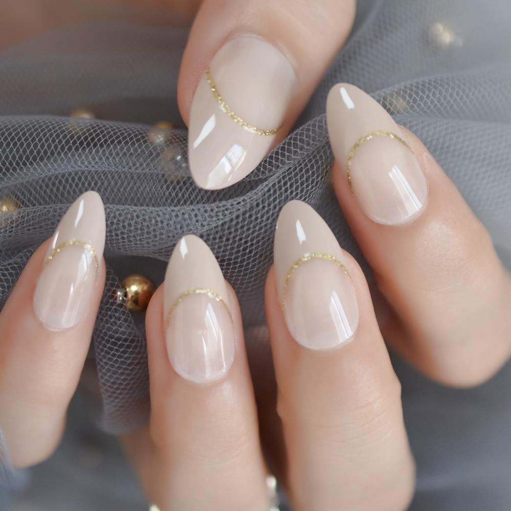 Nude French Stiletto False Nails Designs Medium Long Natural