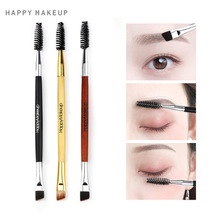 Wholesale NEW excellent double shapes Happy Makeup eyebrow mascara wand cosmetic brush applicator double single brush tool