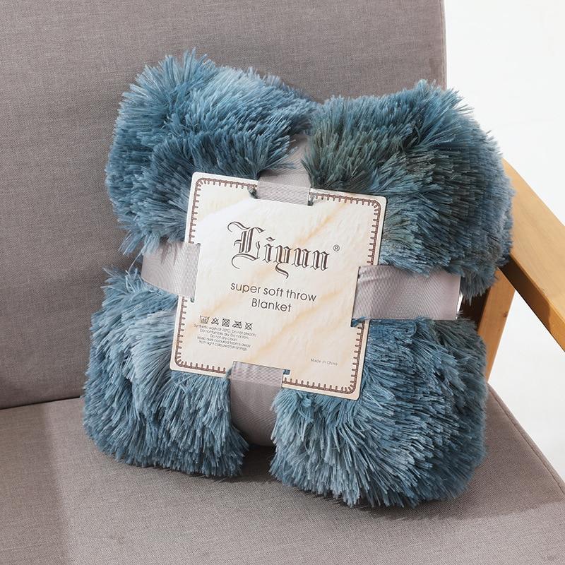 Одеяло s Мягкий мех искусственный с пушистым пледом одеяло кровать