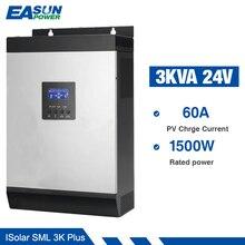 Easun発電mpptソーラーインバータ2400ワット3KVA 24v 220 24vハイブリッドインバータ純粋な正弦波で内蔵60A mpptソーラーコントローラ充電器