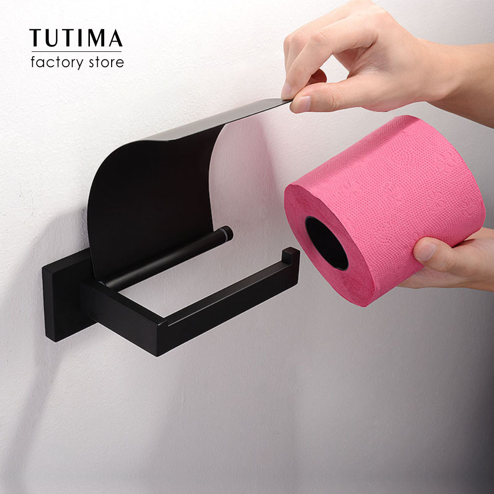 Tutima Matte Black SUS 304 Stainless Steel Toilet Paper Holder Bathroom Toilet Roll Holder Towel Ring Rack Bathroom Accessories