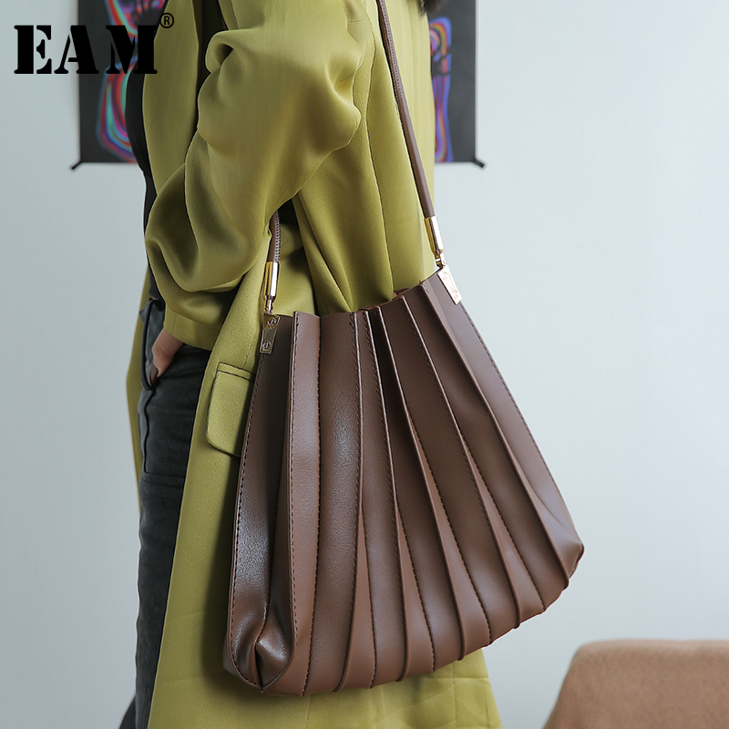 [EAM] Women New Black Pleated Split Joint Pu Leather Personality Accessories Fashion Tide All-match Spring Autumn 2020 1S513