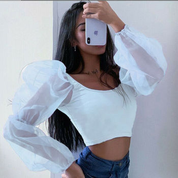 Women Sexy Off Shoulder Ruffles Organza Blouses Long Puff Sleeve Mesh Sheer Crop Top Shirt Party Sweet Short Blouse