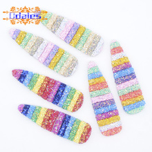 6Pcs 80mm Glitter Sequins BB Clips Cover Patches for Kids Barrette Wave Supplies Baby Girl Headwear Bobby Pin Hairgrip Accessory