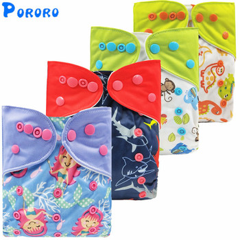 Reusable Diaper Baby Cloth Nappies Porket Adjustable Boy Girl Newborn Washable Waterproof Printed Diaper Cover With Color Tab lecy eco life one size sleeve diaper with color tab square tab baby reusable nappy with stay dry suede cloth inner wholesale