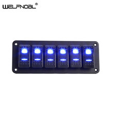 6 Gang Mobil Kapal Laut LED Rocker Switch Panel Tahan Air Circuit Power Socket Digital Voltmeter Dual Port USB 12V outlet(China)