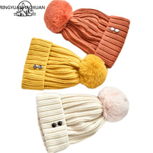 Autumn and winter Korean Beanies Winter Hat Female For Women Knitted Cotton Thick Cap 2019 New Fashion Warm Beanie Hot Selling