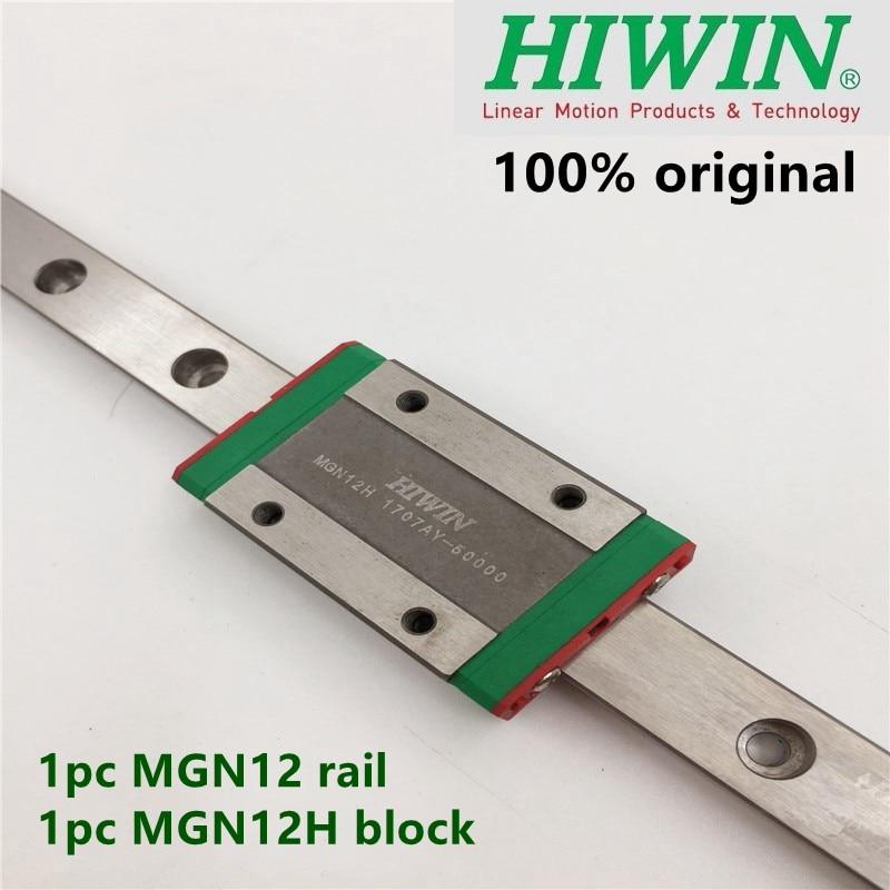 1pc Original Hiwin linear guide MGN12 100 150 200 250 300 350 400 450 500 600 700 mm MGNR12 rail + 1pc MGN12H block cnc 12mm Bearings     - title=