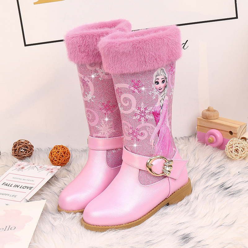 2019 New Frozen 2 Shoes Princess Elsa Shoes Winter Boots For Girls 2-16T Big Girls Shoes Pink Snow Boots Kids Cow Muscle