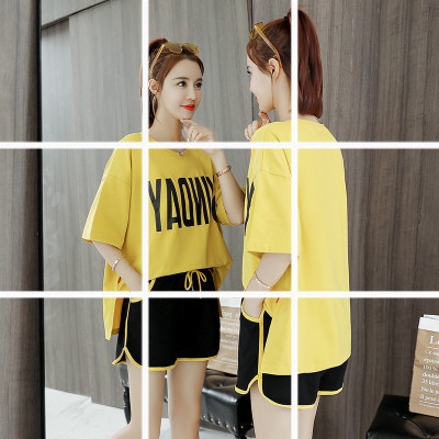 2019 Women's Summer New Style Loose-Fit Trendy Letters T-shirt Short Sleeve Shorts Sports Set Fairy Students Clothes 9