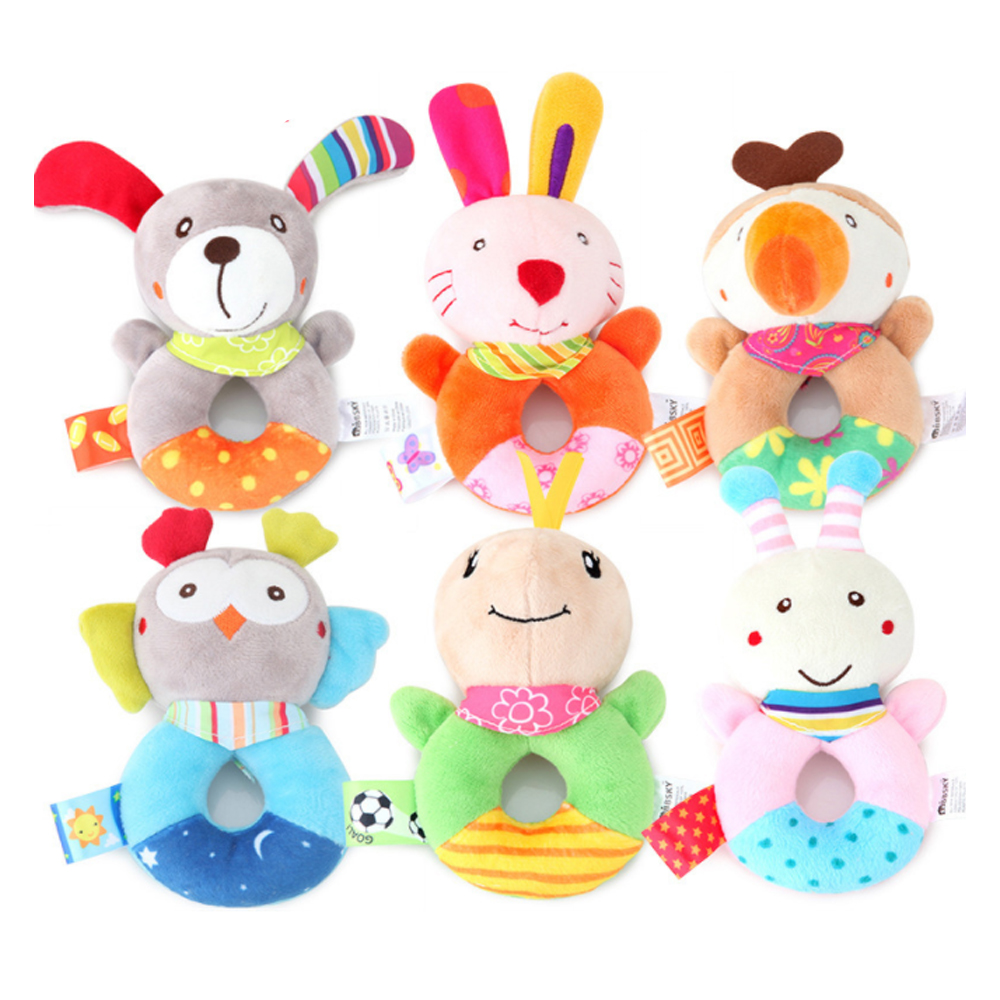 Teether Rattle Soft Baby Toy Animal Squeaker Sounder Educational Christmas Gifts